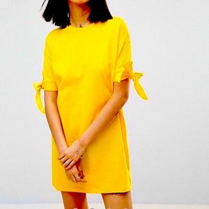 ASOS T-Shirt Dress With Bow Sleeve - Yellow!!